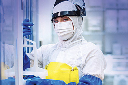 woman in protective suit