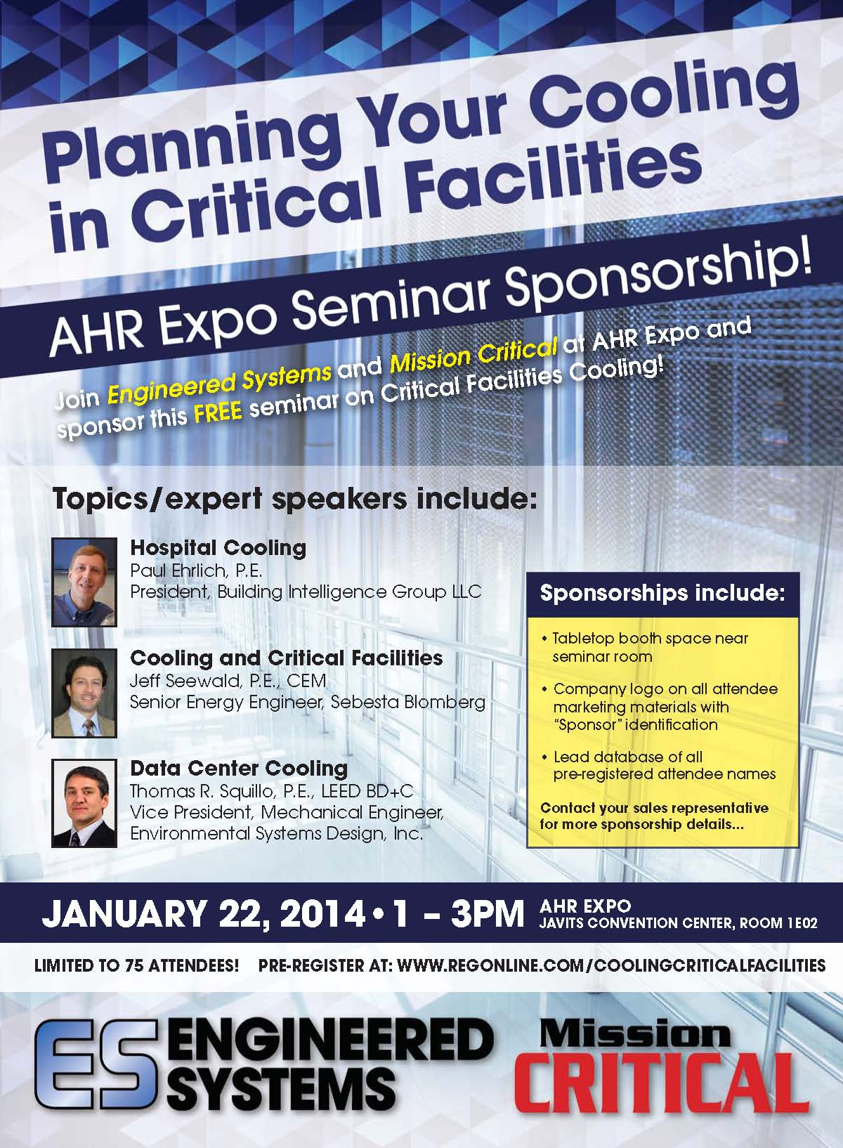 ES-MC AHR Cooling Seminar Sponsorship flyer