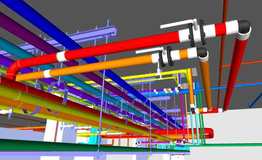 FIGURE 2. BIM model showing hydronic piping and domestic water systems in Navisworks®