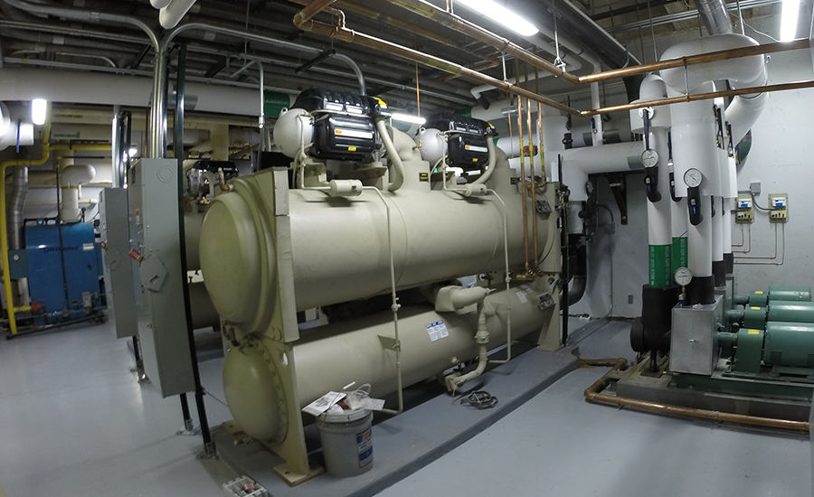 The mechanical installation team installed three new 305-gpm chilled water pumps