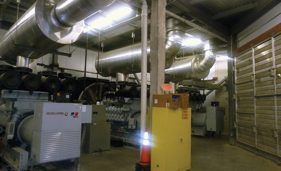 A photo of the existing 1,750-kW, 4,160-V generators