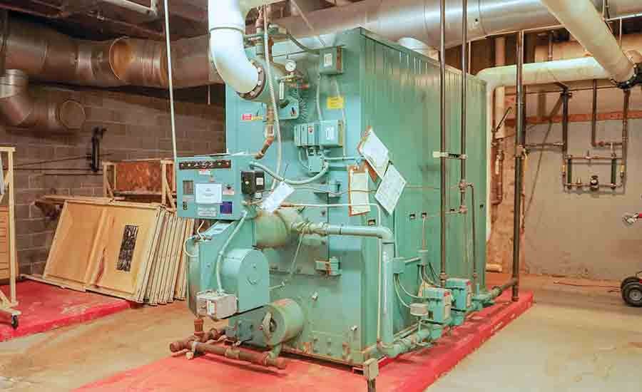 An existing central plant heating water boiler