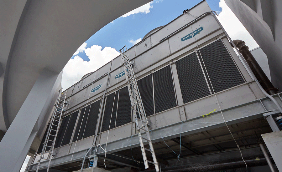 these buildings is served by a two-cell EVAPCO cooling tower